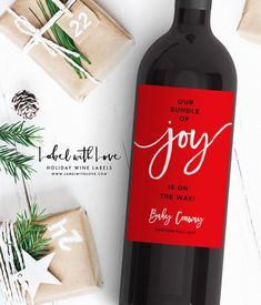Items similar to Christmas Pregnancy Announcement Wine Labels - Winter Best Parents to Grandparents,Bundle of Joy Christmas Shower, Baby Announcement Labels on Etsy Bottle Labels, Wine Labels, Wine And Pregnancy, Love Holidays, Having A Baby, Label Design, Baby Names, Announcement, Handmade Gifts