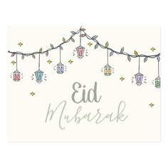 Shop Eid Mubarak greeting card for eid al fit created by HalaGraphics. Personalize it with photos & text or purchase as is! Images Eid Mubarak, Eid Images, Mubarak Ramadan, Eid Mubarak Wishes, Eid Mubarak Greetings, Happy Eid Mubarak, Eid Mubarak Stickers, Eid Stickers, Eid Crafts