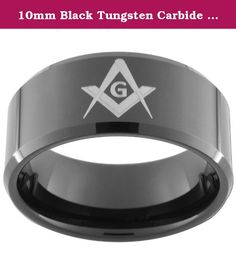 10mm Black Tungsten Carbide Ring with One(1) Master Mason image Size 10. This Unique Black Tungsten Carbide Ring Is 10mm wide with Beveled edges and one(1) MASONIC square and compass and an Ultra-Bright finish. We recommend visiting more than one jewelry store to measure your finger. Your local mall is a great place to go (it is a free service). Because printable and plastic ring finger sizers can be inaccurate we recommend that you do not use them to size your finger. There is a 20%…
