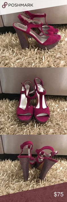 PURPLE HEELS WITH SPARKLED HEELS!!!! Only worn once for a high school dance! OBO Pelle Moda Shoes Heels