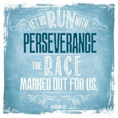 Let us run with perseverance wooden decor block