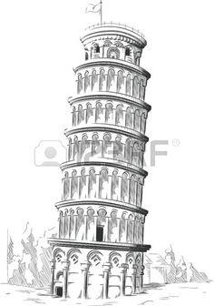 Italia - Torre de Pisa (dibujo)