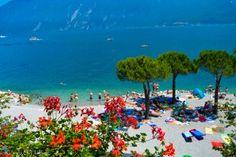 Beach in Limone at Lake Garda (Italy)