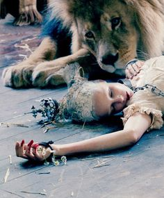 """Karen Elson by Tim Walker for Love #10 Fall 2013. Fashion likes to take pictures of """"dead"""" women."""