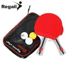 REGAIL 8020 Table Tennis Ping Pong Racket Two Shake-hand grip Bat Paddle Three Balls Light Tip Heavy Handle Table Tennis Racket