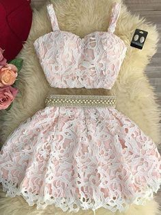 2018 Homecoming Dresses #2018HomecomingDresses, Lace Homecoming Dresses #LaceHomecomingDresses, Homecoming Dresses A-Line #HomecomingDressesALine, Homecoming Dresses Two Piece #HomecomingDressesTwoPiece