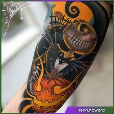 Jack Nightmare before Christmas Halloween tattoo - Halloween İdeas Halloween Tattoo Flash, Cute Halloween Tattoos, Spooky Tattoos, Skull Tattoos, Tatoos, Jack Tattoo, Tattoo Art, Jack Nightmare Before Christmas, Tim Burton