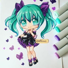 Chibi fanart of Innocent Miku. Trying to get rid of this horrible art block -sigh- I got a figure of this Miku module recently so I though drawing it would be a good warm up. You can see time lapse videos of me drawing / colouring this over on @parichuu ////////// #miku #hatsunemiku #mikuhatsune #vocaloid #innocent #fanart #chibi #chibifanart #copic #copics #copicmarker #copicart #traditionalart #markerart #cute #kawaii #instaart #instagramartist #instaartist