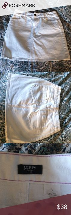 White Denim J.Crew Skirt White denim skirt from J.Crew, preloved in great used condition, reposhing simply because it did not fit, it is labeled as a size zero but I believe it would fit anywhere from a 0-4 as the material has some stretch to it.  If you have any questions or concerns please comment! J. Crew Skirts