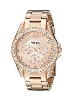 awesome Fossil Women's ES2811 Riley Rose Gold-Tone Stainless Steel Watch with Link Bracelet