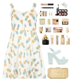 """""""Pineapple princess"""" by pandalover456 ❤ liked on Polyvore featuring Dorothy Perkins, Nly Shoes, Love Moschino, Yves Saint Laurent, Marc Jacobs, Clarins, D&G, Tory Burch, AERIN and RMK"""