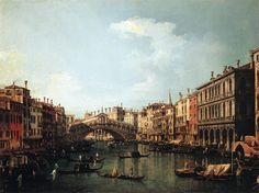 Grand Canal Looking Northeast from the Palazzo Balbi to the Rialto Bridge - Canaletto - WikiPaintings.org