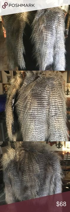 FAUX FUR / FEATHER JACKET FROM SPAIN FAUX FUR / FEATHER JACKET purchased in SPAIN!  Made by Stradivarius, this jacket is so unbelievably amazing. It truly has Rock Star glam style.  Would be super stylish for an urban boho look too. stradivarius Jackets & Coats
