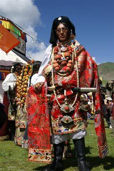 Guy's Ceremonial Dress. Yushu, Kham, Tibet.