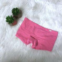 e50d73aec3a Victorias Secret VS PINK Boyshort Boxer Panty Neon Pink Booty Words Size  Med NWT  VictoriasSecret  Boyshorts  Everyday