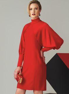 Tom and Linda Platt for Vogue Patterns. Sew V1565 MISSES' HIGH NECK DRESS WITH FULL SLEEVES #sewingpattern #voguepatterns