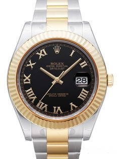 Rolex Datejust II 41 116333 Schwarz Römisch Gold
