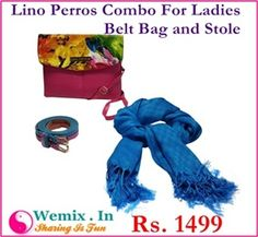 Lino Perros Combo For Ladies Belt Bag and Stole Rs. 1499
