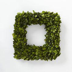 freeze-dried boxwood wreath, West Elm