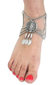 Metal Coin Anklet with Large Medallion - SILVER