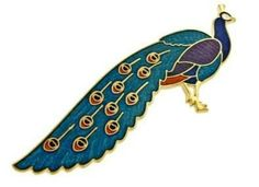 Gorgeous gold plated and enamel peacock bird pin or brooch $44.99