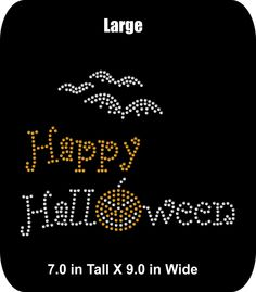 Happy Halloween - Rhinestone Bling Iron-on Appliqué T-shirt Transfer  - Spooky, Scary Bling DIY - Two sizes - pinned by pin4etsy.com