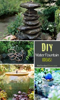DIY Water Fountain Ideas & Tutorials! I like the idea of using a glazed pot.