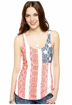 American Flag Lace Front Tank  Lucky Brand