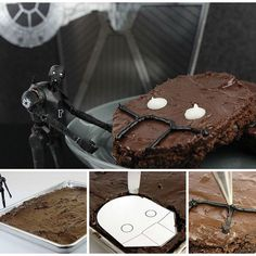 starwars You'll love @JustJennRecipes' K-2SO brownies. Cassian said you have to. #RogueOne #StarWars  You'll need:  Template (available at StarWars.com) Black icing White icing  Ingredients: 1/2 cup all-purpose flour 1/3 cup cocoa powder 1 teaspoon baking powder pinch of salt 1/2 cup (1 stick) unsalted butter, melted 1 cup sugar 8 ounces dark chocolate, melted 4 eggs 1/2 teaspoon vanilla  Frosting ingredients: 4 tablespoons butter, softened 2 cups powdered sugar ¼ cup cocoa powder 3…