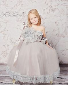 Angelique flower girl tutu dress with venice lace trim por FabTutus