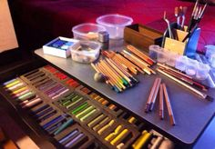 my work station with pastels
