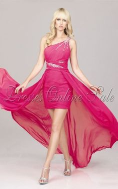 Move your mouse over image or click to enlarge  Modern Fuchsia A-line Asymmetrical Chiffon One Shoulder Dress With Crystals