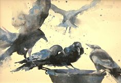 Crow Caucus by Sarah Yeoman Watercolor ~ 22 x 30
