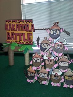 """Moana Party game DIY custom kakamora pirates game in the style of the carnival """"knock down the milk jug"""" games. Super fun"""
