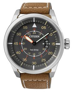 Citizen Eco-Drive Analog Date Brown Leather Watch# AW1360-12H (Men Watch)