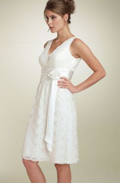 Cocktail Length Ivory Lace Wedding/Reception Dress