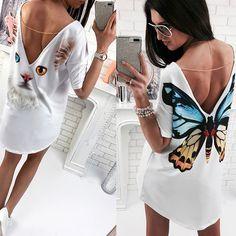Sexy Summer Women Short Sleeve T-shirt Tops Printed Cat Butterfly T-shirt Deep V Back Long T-shirts Tops FS99 #Affiliate
