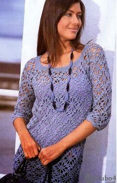 Blusa Azul Arana a Crochet o Ganchillo