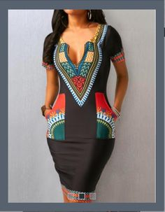 Pocket Split Neck Short Sleeve Dress - Trend Way Dress African Fashion Designers, Latest African Fashion Dresses, African Print Dresses, African Print Fashion, African Dress, Modern African Fashion, African Attire, African Wear, Moda Afro