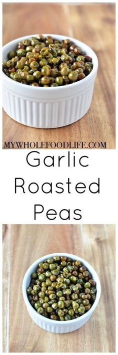 These Garlic Roasted Peas are perfect for healthy snacking. They come with a boost of protein and fiber. Vegan and gluten free too.