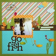 Go Fish layout by Kathy Skou from Doodlebug Design using the NEW Happy Camper Collection - LOVE the design of this page!!!
