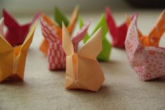 Origami rabbits. The French blog suggests a video in English
