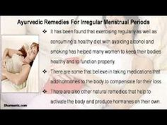 This video describe about ayurvedic remedies for irregular menstrual periods and painful menstruation. You can find more detail about Gynex Capsules at http://www.dharmanis.com