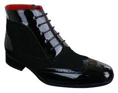 Mens Black White Montez Rossellini Patent Shiny Suede Zip Lace Up Boots UK 7-12