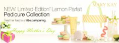 Lemon Parfait Pedicure Collection... Inspired by the confections at a French bakery, this set features the refreshing scent of crushed mint leaves, fresh lime, tangy lemon peel and sweet honeysuckle blossoms.  GREAT Mother's Day Gift!... http://www.marykay.com/Sharonjk/en-US/New-Products/Lemon-Parfait-Pedicure-Collection/200276.partId?eCatId=4294967131