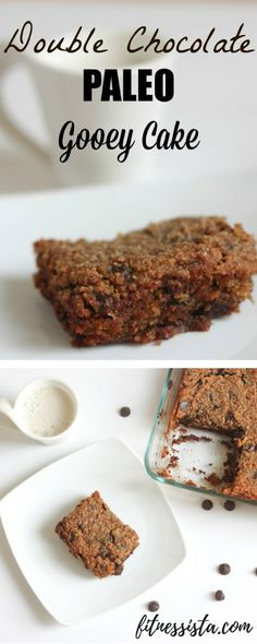 This paleo chocolate gooey cake is all the goodness of brownies and chocolate chip cookies layered into one batch of deliciousness! fitnessista.com