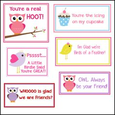 Such sweet printable Valentine's...but I think I will use some of them as lunch box notes!