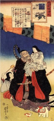 Takeuchi and the infant emperor - Utagawa Kuniyoshi