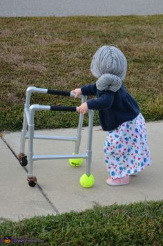 Kristina: This year we dressed my one year old daughter as a little old grandma. We handmade her walker out of a PVC pipe cut down (about $5 for the pipe...