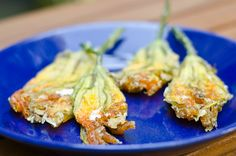 Goat Cheese Stuffed Zucchini Flowers Recipe - Daily Unadventures in Cooking